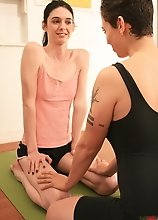Irresistible Mandy Mitchell seduced her yoga teacher
