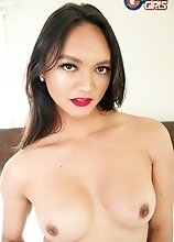 Watch gorgeous Andrea Zhay stroking her cock until she cums in this hot solo scene!