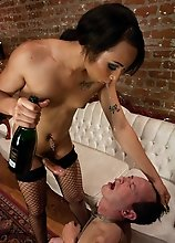 Hot Ts Honey Foxxx seduces a groom to be in the champagne room. When he can't pay, Honey whips out her huge dick, takes payment in the form of hi
