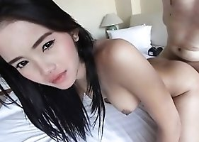 18yo sweet Thai ladyboy fucked in the ass by big white cock