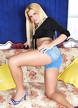 Hilda Brazil in a tiny jeans showing her delicious body